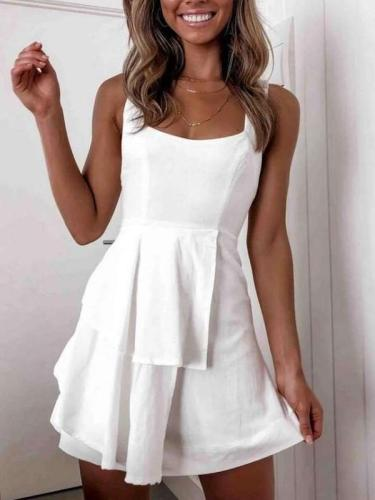 Fashion Sexy Pure Vest Backless Skater Dresses