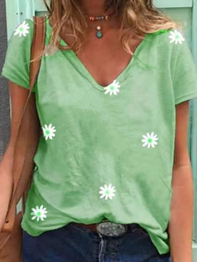 Casual Print V neck Short sleeve Women T-Shirts