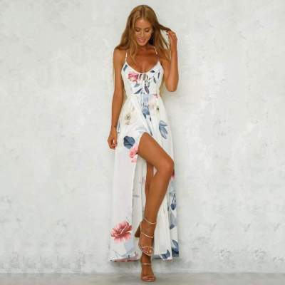 Fashion Print V neck Lacing Vent Sleeveless Backless Maxi Dresses