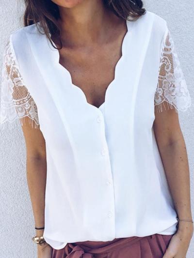 Plain petal v-neck lace short-sleeved T-shirt