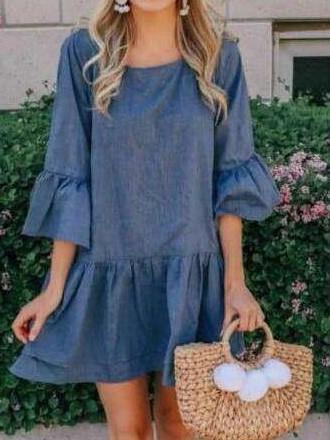 Fashion Casual Pure Round neck Half sleeve Gored Falbala Shift Dresses