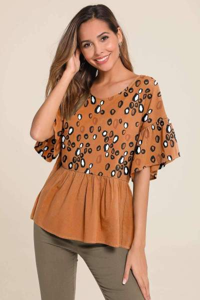 Fashion Print Round neck Half sleeve Falbala T-Shirts
