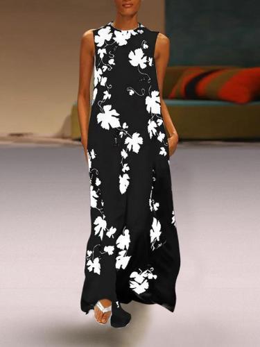 Stylish Round Neck Sleeveless Printed Long Maxi Dresses For Women