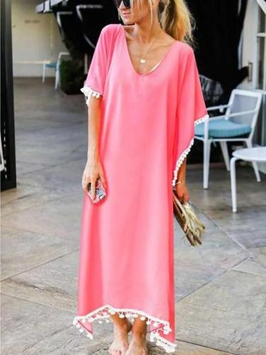 Casual V neck Short sleeve Macrame Maxi Dresses
