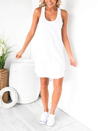 Plain U collar Sleeveless I-back Shift Dress