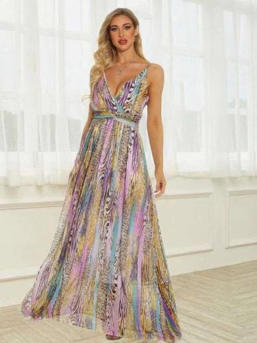 Fashion Stripe print V neck Vest Skater Maxi Dresses