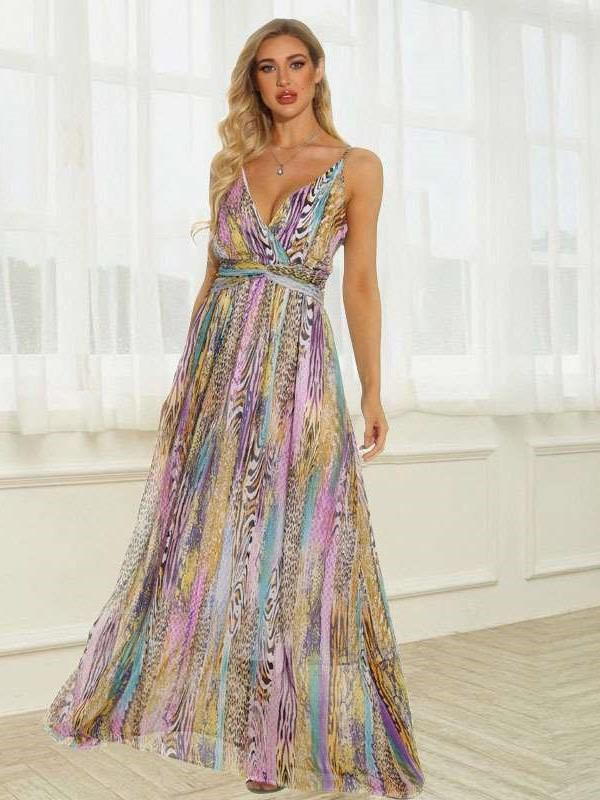 Fashion Stripe print V neck Vest Skater Maxi Dresses