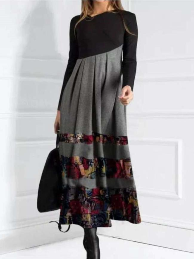 Fashion Gored Print V neck Long sleeve Maxi Dresses