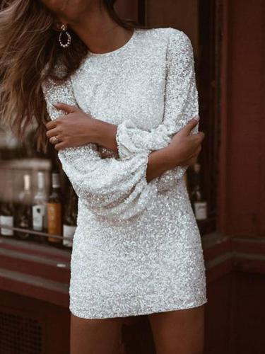 Sexy women round neck long sleeve bling bodycon dresses