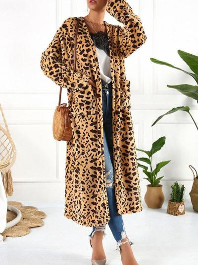Chic printed women long cardigans coats