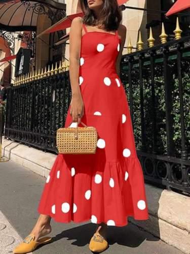 Sexy Polka Dot Sling Sleeveless Maxi Dresses