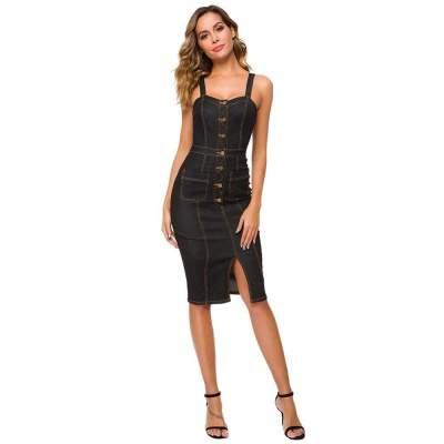 Sexy Vest Fastener Jean Bodycon Dresses