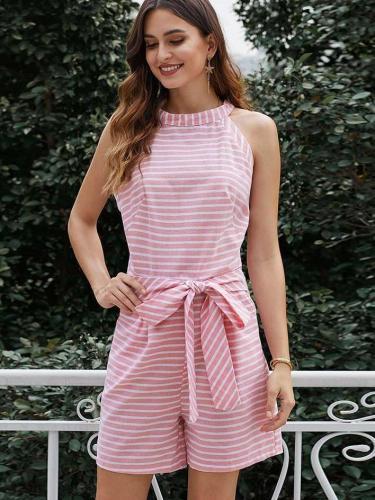 Fashion Stripe Lacing Jumpsuits