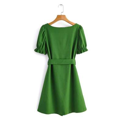 Fashion Pure Square collar Short sleeve Shift Dresses