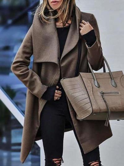Fashion Pure Lapel Long sleeve Coats