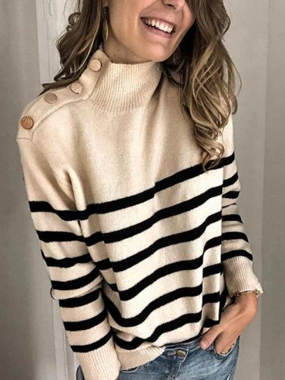 Chic high neck women long sleeve stripe sweaters
