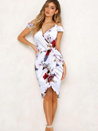 Sexy Off shoulder Print Vest Bodycon Dresses