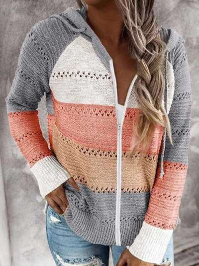 Fashion Stripe Gored Hollow out Long sleeve Hoodies Zipper Sweatshirts