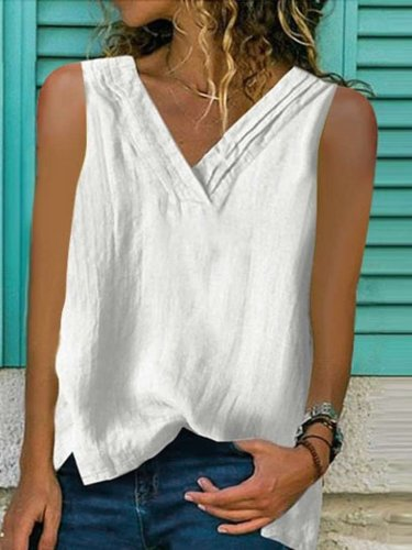 Fashion Pure V neck Sleeveless T-Shirts