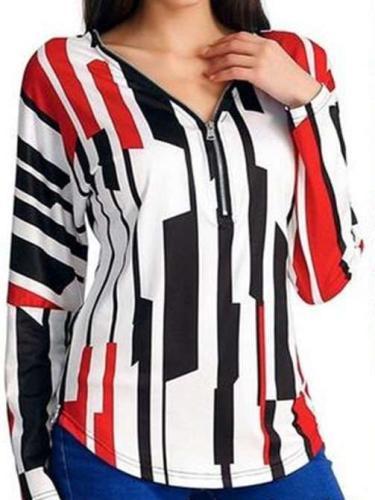 Fashion Print Zipper V neck Blouses