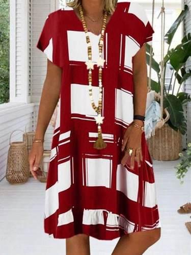 Women v neck printed stylish short sleeve shift dresses