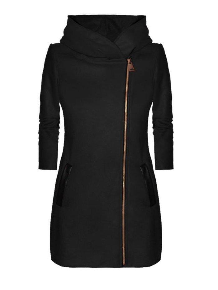 Zipper Solid Paneled Hoodie Coat