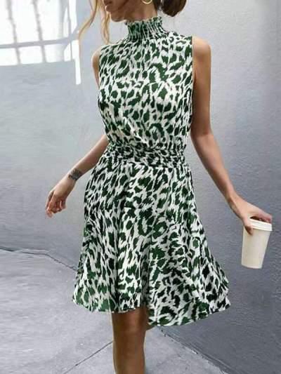 Summer Leopard Printed Women Fashion Skater dress