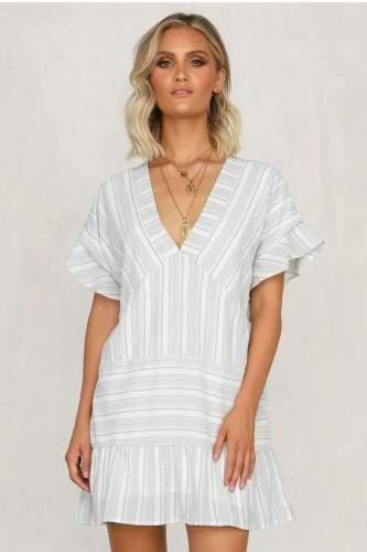 Casual Stripe V neck Short sleeve Shift Dresses