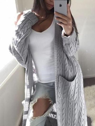 Fashion women long Twist sweater pocket cardigans