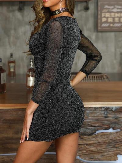 Sexy black v neck bodycon long sleeve evening dresses