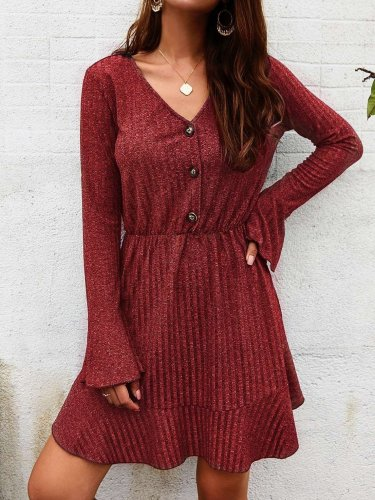 Fashion V neck Falbala Long sleeve Skater Dresses