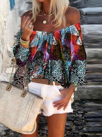 Casual Print One shoulder Long sleeve Blouses