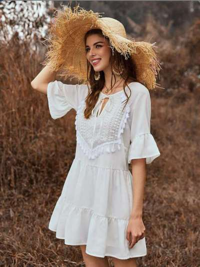 Fashion Gored Pure Falbala Half sleeve Lacing Shift Dresses
