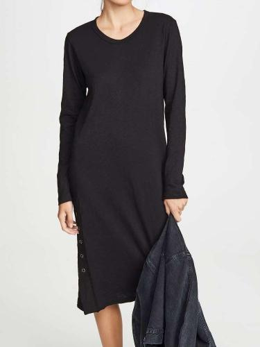 Fashion Pure Round neck Long sleeve Vent Maxi Dresses
