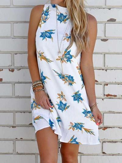 Casual Print Round neck Backless Sleeveless Shift Dresses