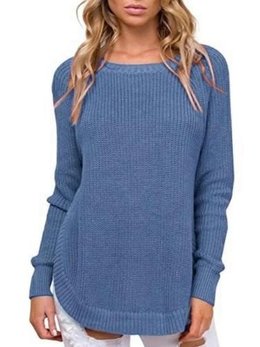Women Vent Round neck Long sleeve Knit Sweaters