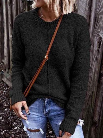 Plain women long sleeve knit round neck sweaters for women
