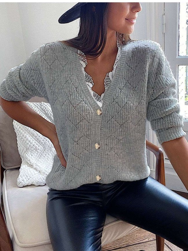 Fashion Lace Gored V neck Long sleeve Knit Sweaters Cardigan