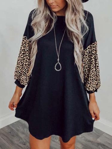 Women fashion round neck puff sleeve shift dresses