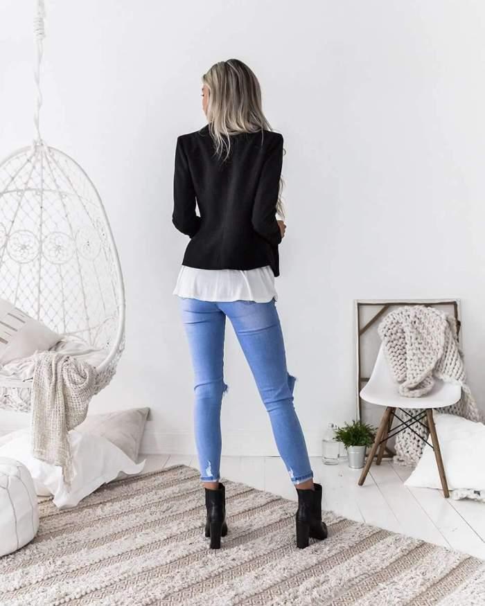 Fashion Lapel Tee Short Blazer