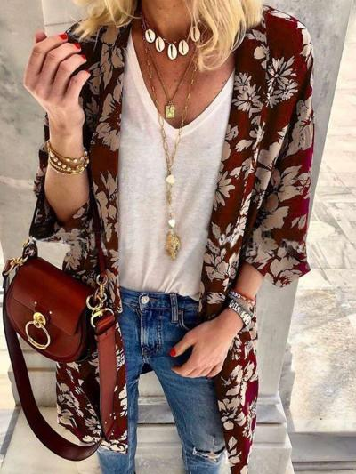 Fashion Casual Print Cardigan Coats