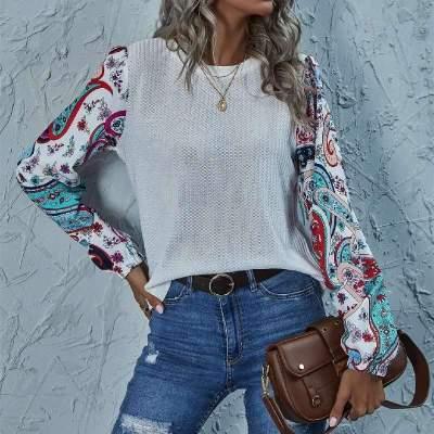 Fashion Print Gored Round neck Long sleeve T-Shirts