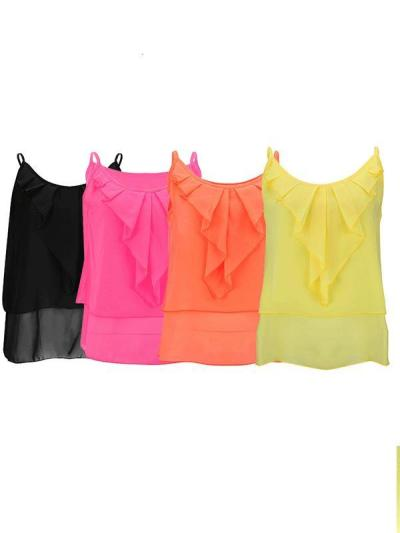 Women Colorful Summer Chiffon Plain Vests