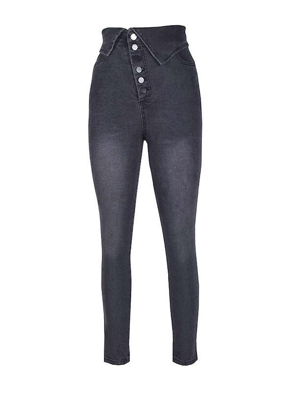 Fashion Button stretch high waist lapel pencil jeans