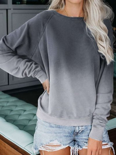 Casual Loose Gradient Round neck Long sleeve T-Shirts