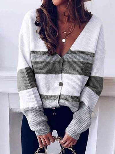 V-neck button striped long sleeve sweater cardigans
