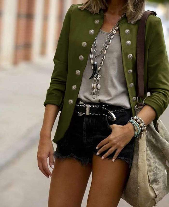 Fashion Double-breasted Stand collar Blazer