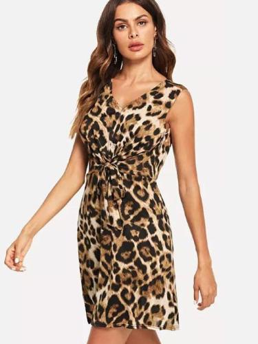 Sexy Leopard Sleeveless Skater Dresses