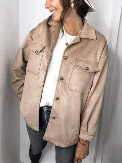 Fashion Turn down neck long sleeve pockets women jackets
