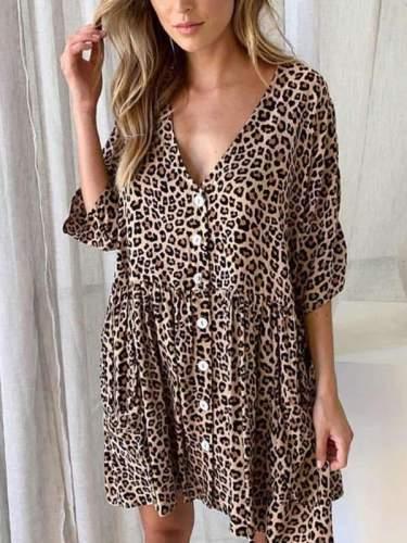 Loose leopard print slim v-neck Women Shift Dresses